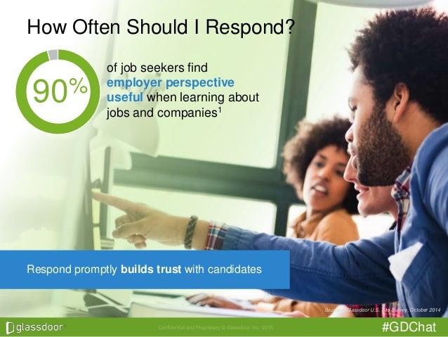 #GDChat How Often Should I Respond? Source: 1 Glassdoor U.S. Site Survey, October 2014 90% of job seekers find employer pe...