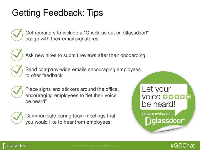 """#GDChat Getting Feedback: Tips Get recruiters to include a """"Check us out on Glassdoor!"""" badge with their email signatures ..."""