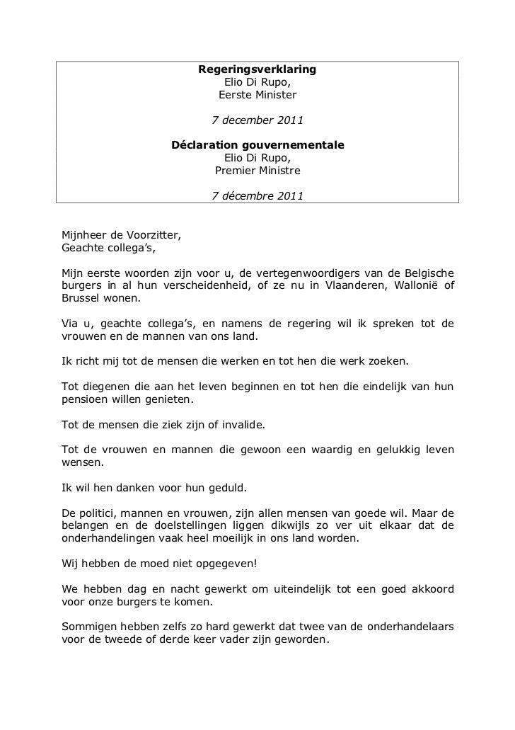 Regeringsverklaring                              Elio Di Rupo,                             Eerste Minister                ...
