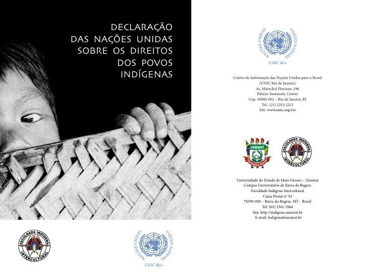 DECLARAÇÃODAS NAÇÕES UNIDAS SOBRE OS DIREITOS        DOS POVOS        INDÍGENAS    Centro de Informação das Nações Unidas ...
