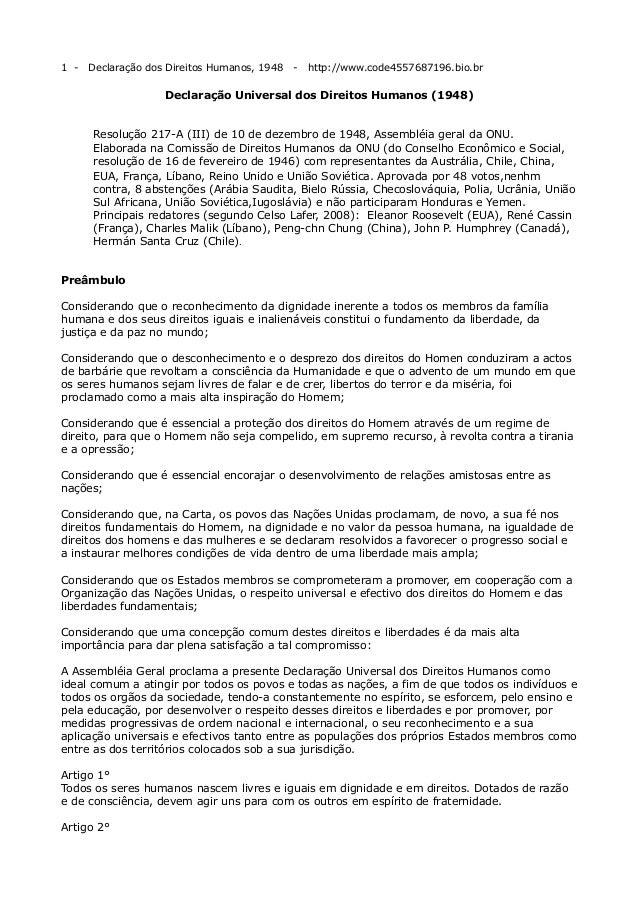 1 -  Declaração dos Direitos Humanos, 1948  -  http://www.code4557687196.bio.br  Declaração Universal dos Direitos Humanos...