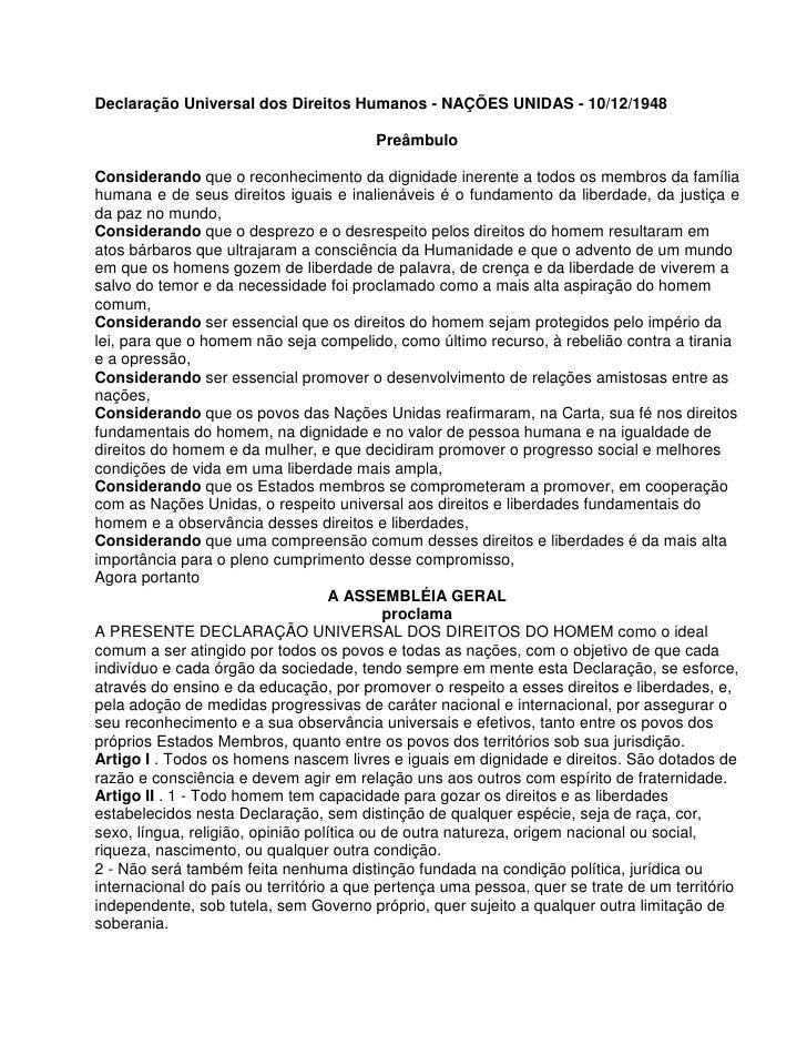 Declaração Universal dos Direitos Humanos - NAÇÕES UNIDAS - 10/12/1948                                        PreâmbuloCon...