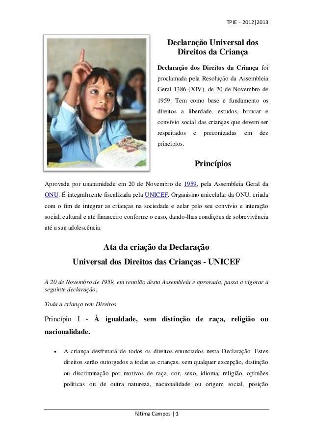 TPIE - 2012|2013                                                Declaração Universal dos                                  ...
