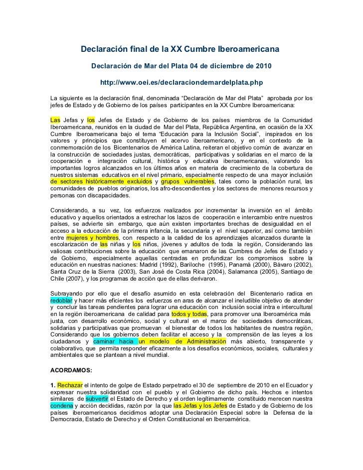 Declaración final de la XX Cumbre Iberoamericana               Declaración de Mar del Plata 04 de diciembre de 2010       ...