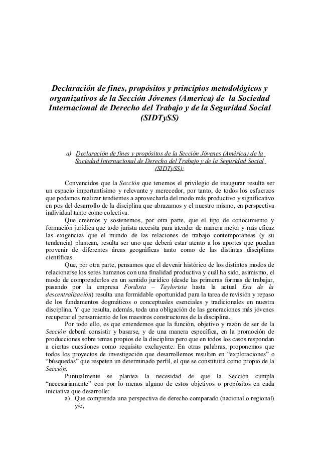 Declaración de fines, propósitos y principios metodológicos y organizativos de la Sección Jóvenes (America) de la Sociedad...
