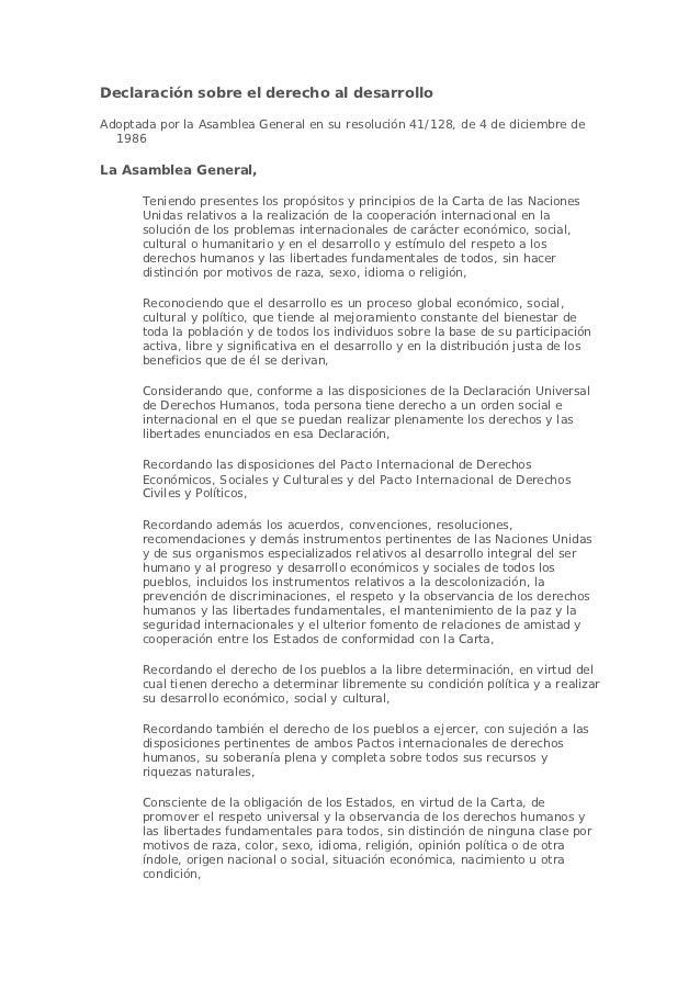 Declaración sobre el derecho al desarrolloAdoptada por la Asamblea General en su resolución 41/128, de 4 de diciembre de  ...