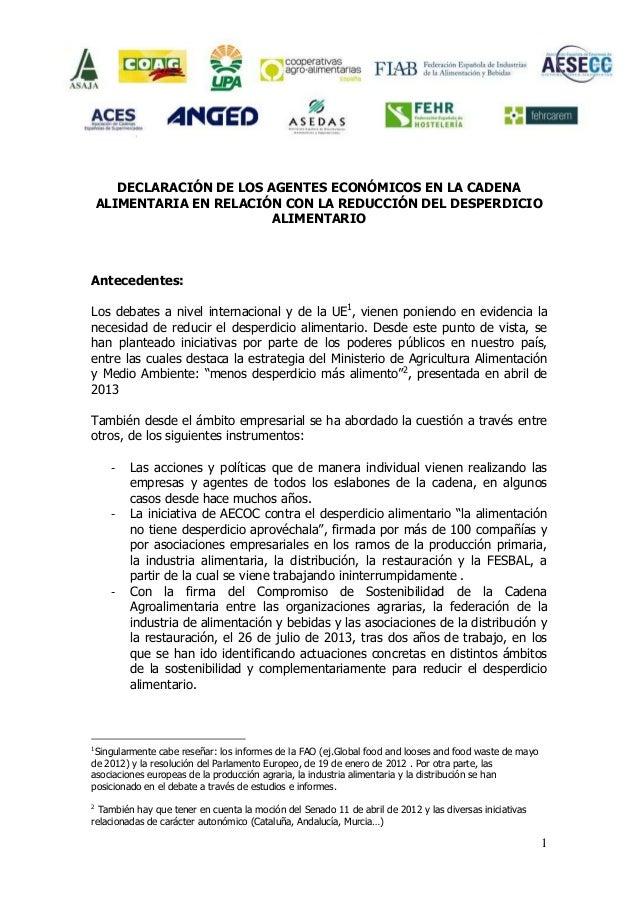 DECLARACIÓN DE LOS AGENTES ECONÓMICOS EN LA CADENA ALIMENTARIA EN RELACIÓN CON LA REDUCCIÓN DEL DESPERDICIO ALIMENTARIO  A...