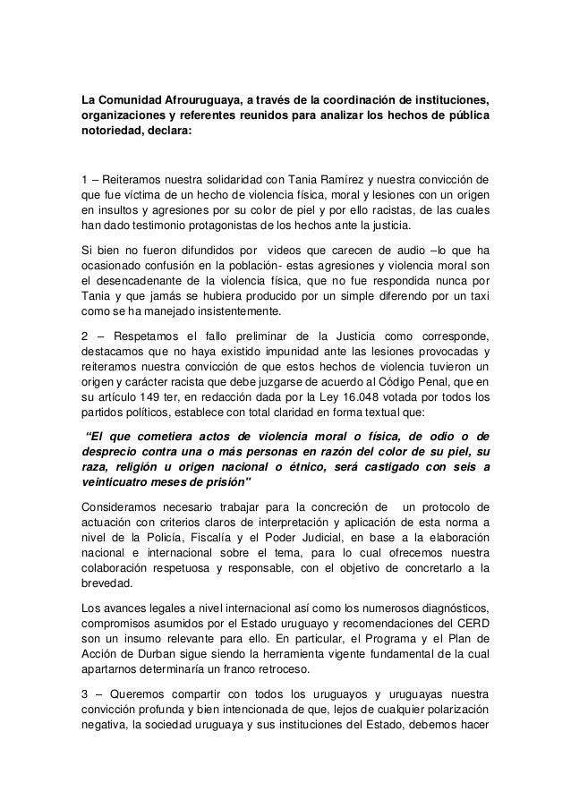 La Comunidad Afrouruguaya, a través de la coordinación de instituciones,organizaciones y referentes reunidos para analizar...