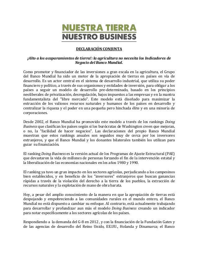DECLARACIÓN CONJUNTA ¡Alto a los acaparamientos de tierra!: la agricultura no necesita los Indicadores de Negocio del Banc...
