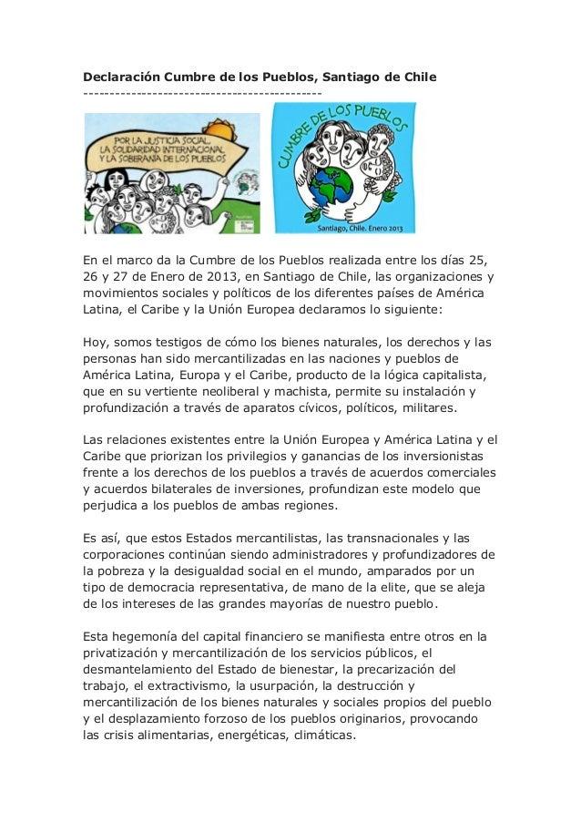 Declaración Cumbre de los Pueblos, Santiago de Chile---------------------------------------------En el marco da la Cumbre ...