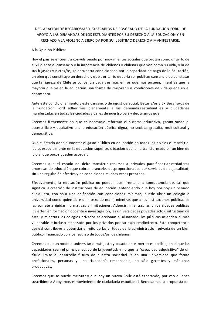 DECLARACIÓN DE BECARIOS/AS Y EXBECARIOS DE POSGRADO DE LA FUNDACIÓN FORD: DE   APOYO A LAS DEMANDAS DE LOS ESTUDIANTES POR...