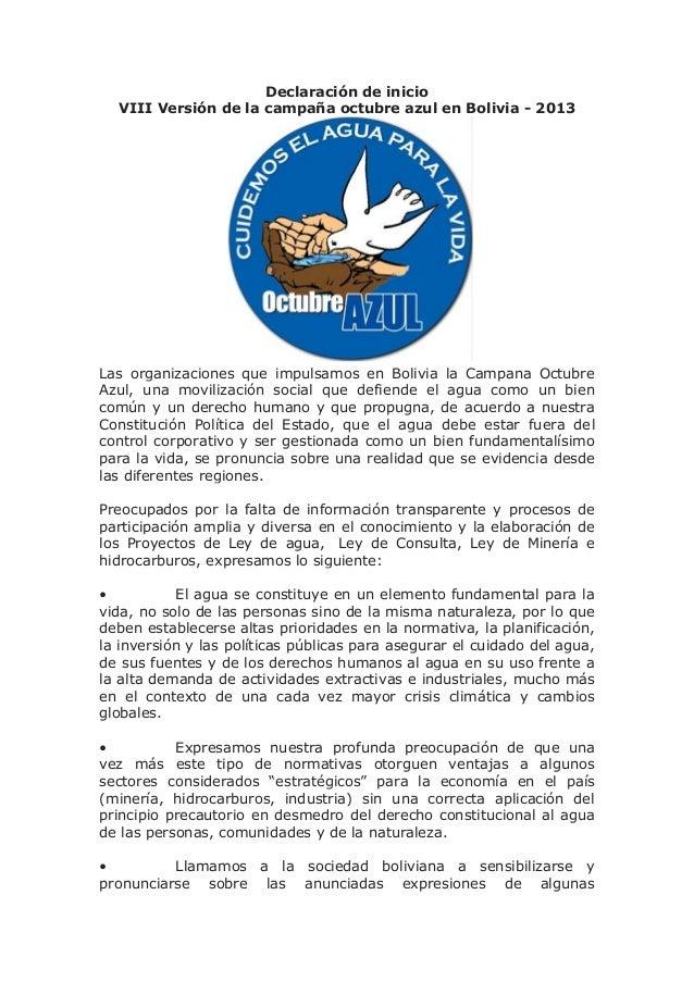 Declaración de inicio VIII Versión de la campaña octubre azul en Bolivia - 2013 Las organizaciones que impulsamos en Boliv...