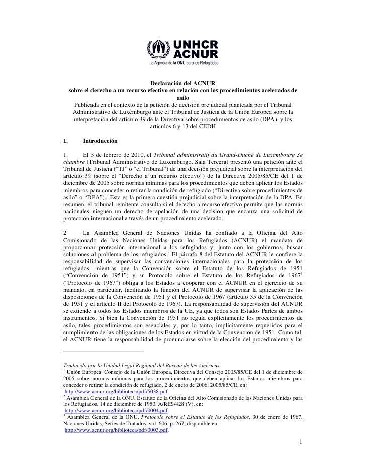 Declaración del ACNUR      sobre el derecho a un recurso efectivo en relación con los procedimientos acelerados de        ...