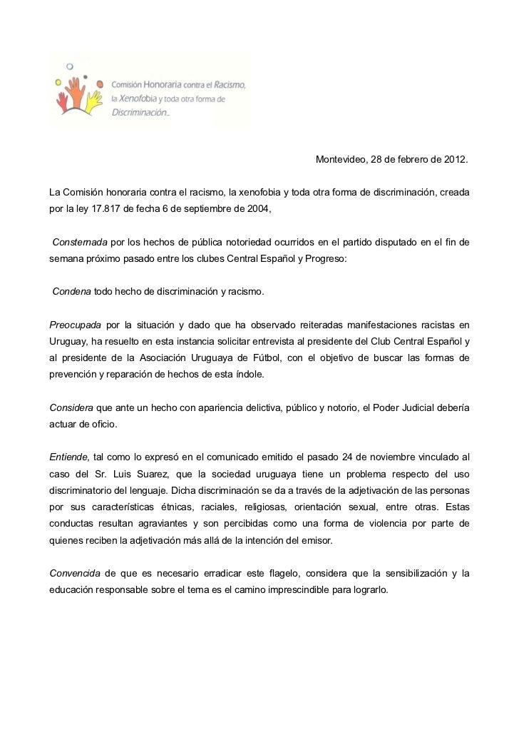 Montevideo, 28 de febrero de 2012.La Comisión honoraria contra el racismo, la xenofobia y toda otra forma de discriminació...