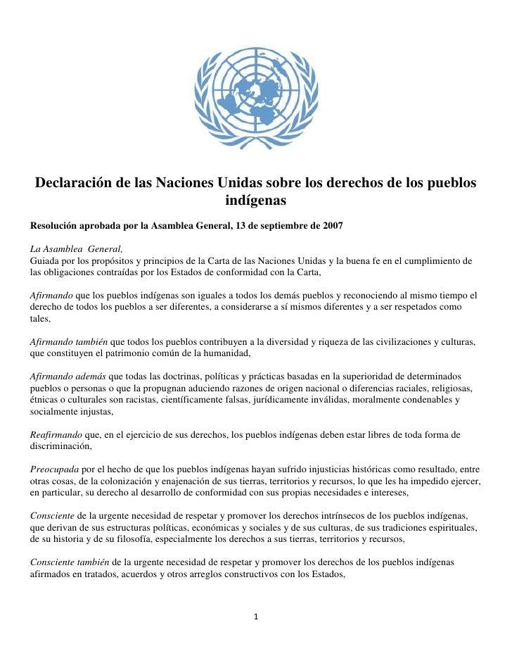 Declaración de las Naciones Unidas sobre los derechos de los pueblos indígenas<br />Resolución aprobada por la Asamblea Ge...