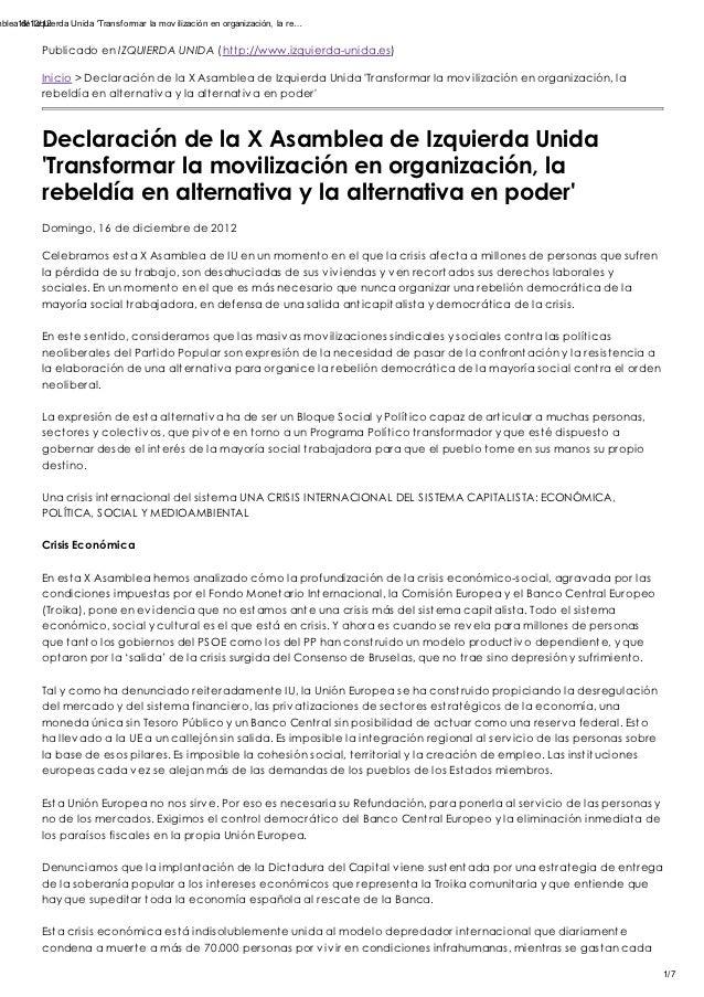 mblea16/12/12      de Izquierda Unida Transf ormar la mov ilización en organización, la re…            Publicado en IZQUIE...