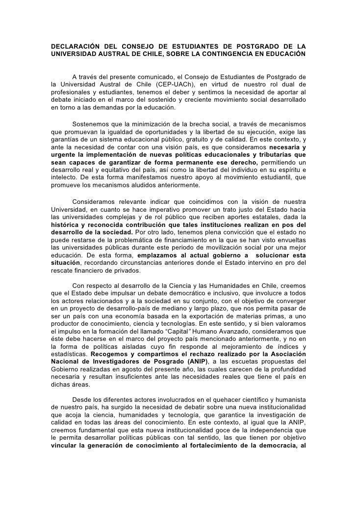 Declaración del consejo de estudiantes de postgrado de la universidad austral de chile, sobre la contingencia en educación
