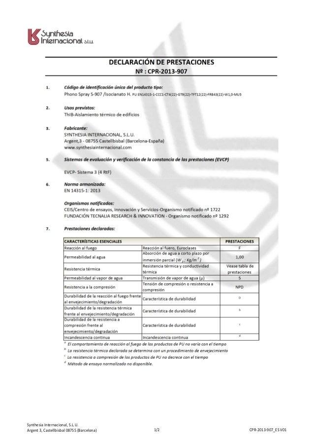 Synthesia Internacional, S.L.U. Argent 3, Castellbisbal 08755 (Barcelona) 1/2 CPR-2013-907_ES V01
