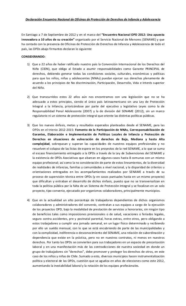 Declaración Encuentro Nacional de Oficinas de Protección de Derechos de Infancia y AdolescenciaEn Santiago a 7 de Septiemb...