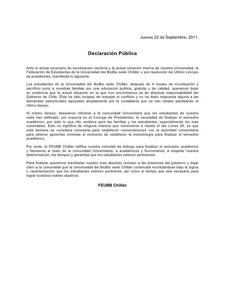 Jueves 22 de Septiembre, 2011.                                     Declaración PúblicaAnte el actual escenario de moviliza...