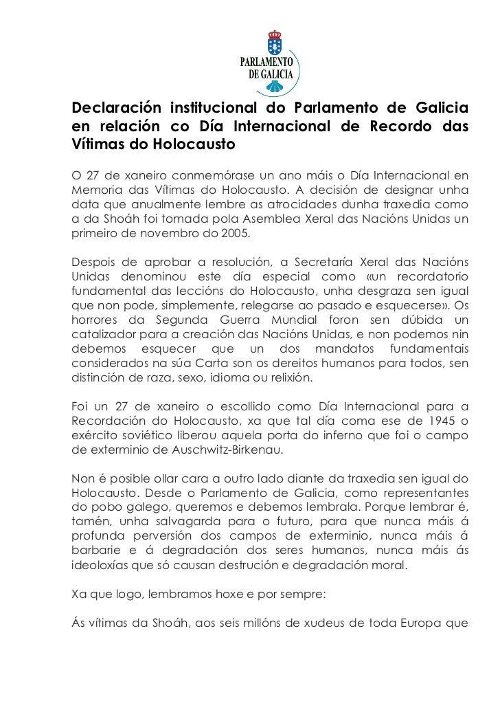 Declaración institucional do Parlamento de Galiciaen relación co Día Internacional de Recordo dasVítimas do HolocaustoO 27...