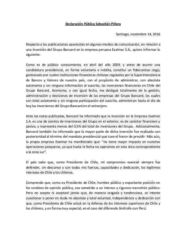 Declaración Pública Sebastián Piñera Santiago, noviembre 14, 2016 Respecto a las publicaciones aparecidas en algunos medio...
