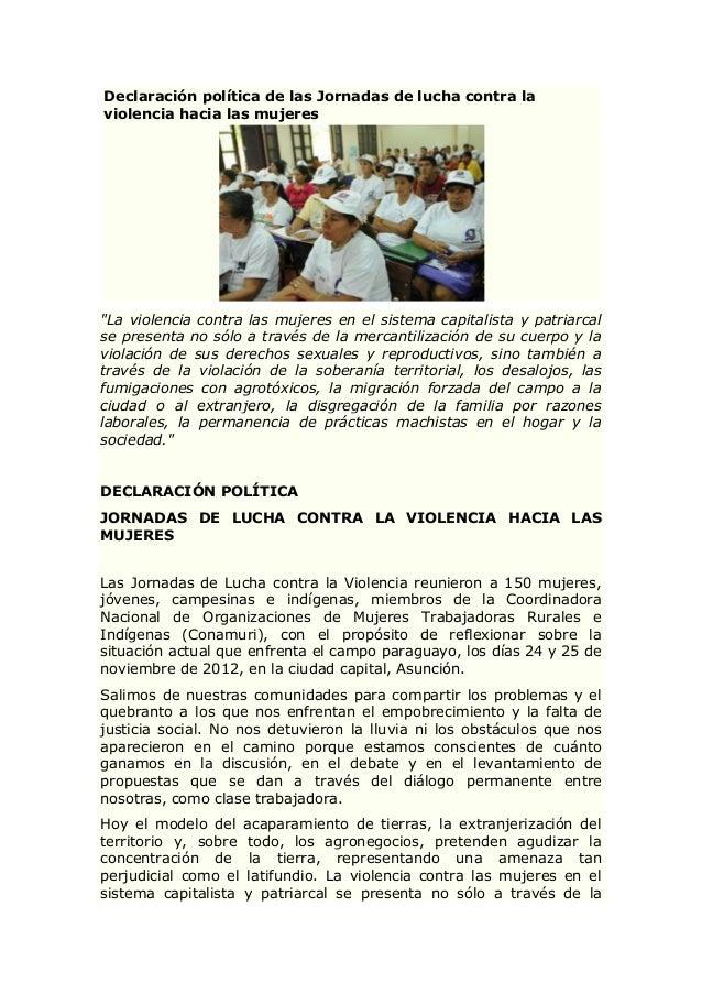 """Declaración política de las Jornadas de lucha contra laviolencia hacia las mujeres""""La violencia contra las mujeres en el s..."""