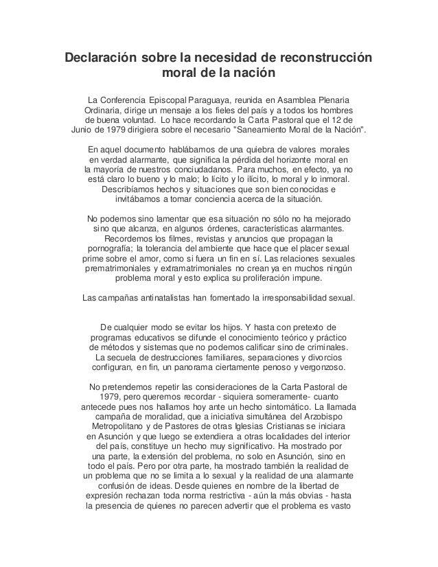Declaración sobre la necesidad de reconstrucción moral de la nación La Conferencia Episcopal Paraguaya, reunida en Asamble...