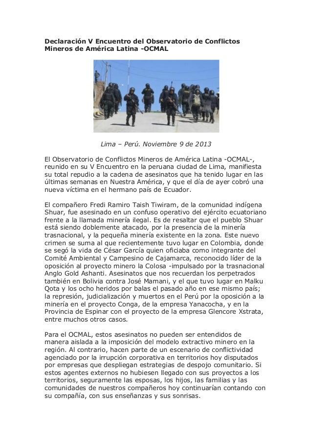 Declaración V Encuentro del Observatorio de Conflictos Mineros de América Latina -OCMAL  Lima – Perú. Noviembre 9 de 2013 ...