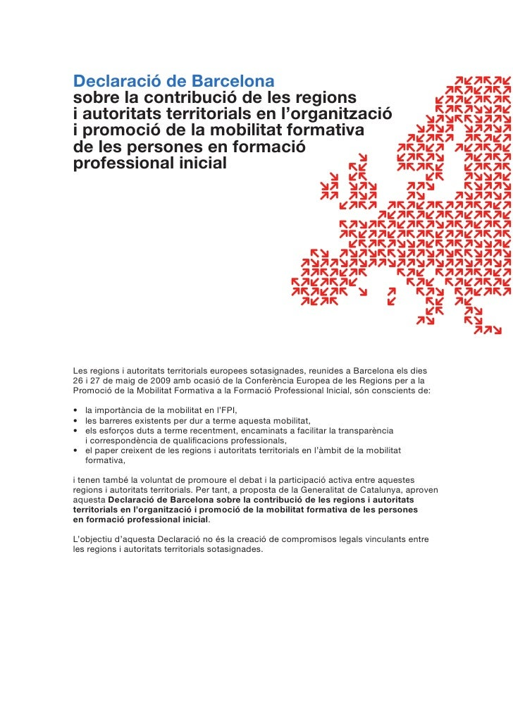 Declaració de Barcelona sobre la contribució de les regions i autoritats territorials en l'organització i promoció de la m...