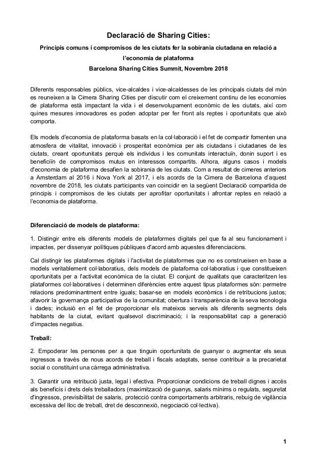 Declaració de Sharing Cities: Principis comuns i compromisos de les ciutats fer la sobirania ciutadana en relació a l'econ...