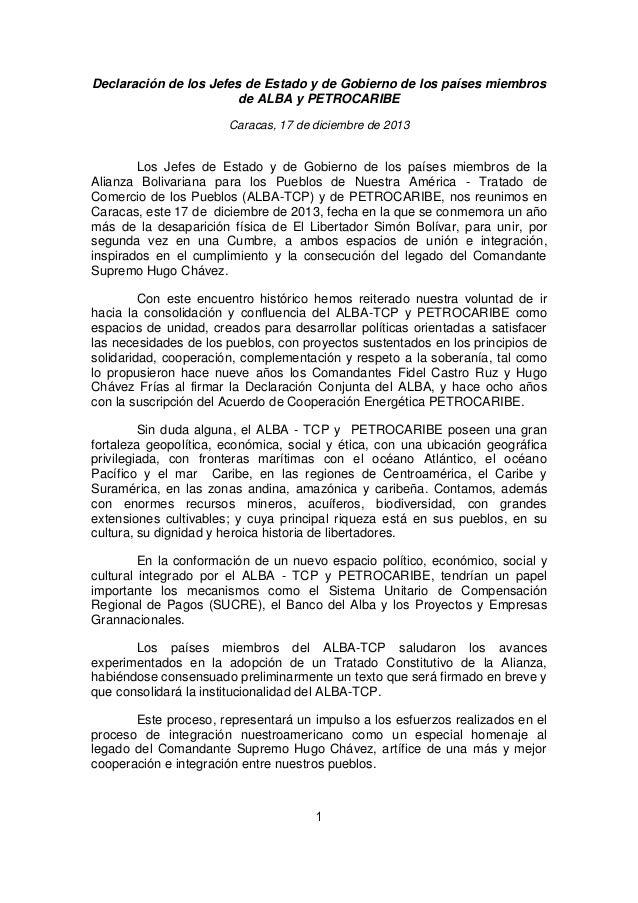 Declaración de los Jefes de Estado y de Gobierno de los países miembros de ALBA y PETROCARIBE Caracas, 17 de diciembre de ...