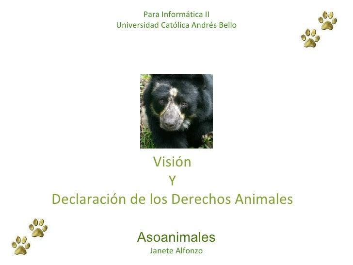 Visión Y Declaración de los Derechos Animales Asoanimales Janete Alfonzo Para Informática II Universidad Católica Andrés B...