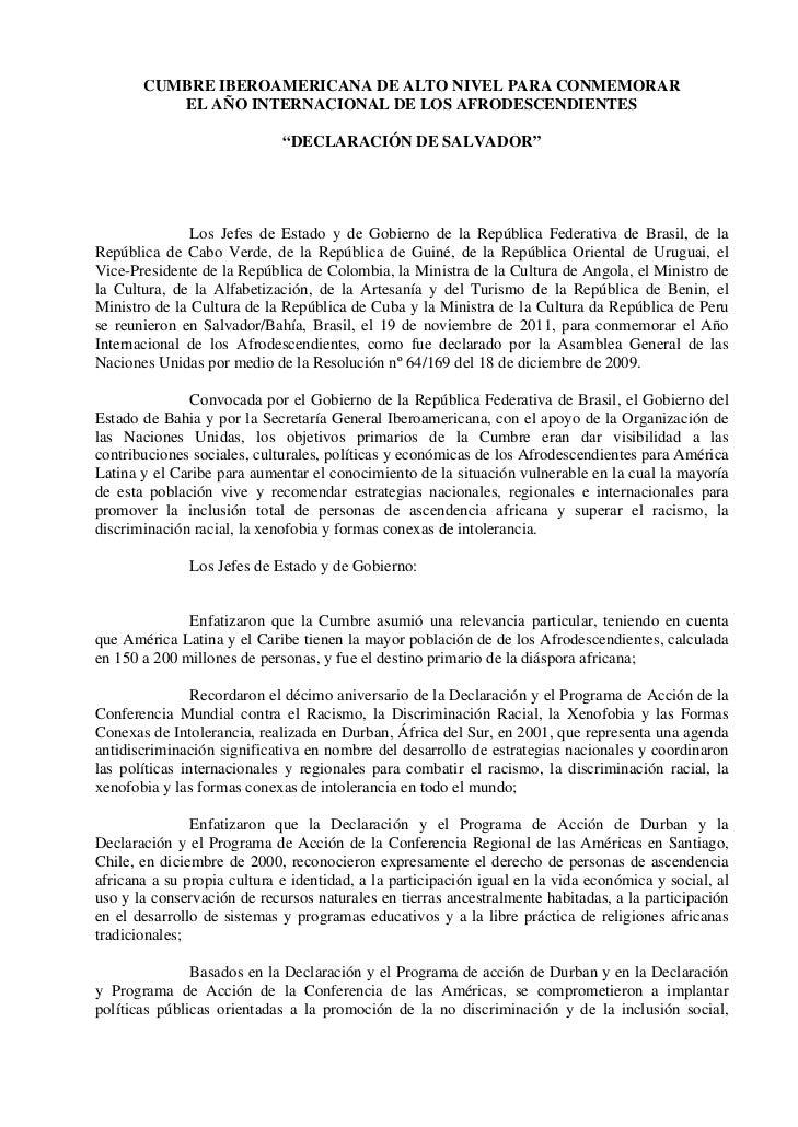 CUMBRE IBEROAMERICANA DE ALTO NIVEL PARA CONMEMORAR          EL AÑO INTERNACIONAL DE LOS AFRODESCENDIENTES                ...