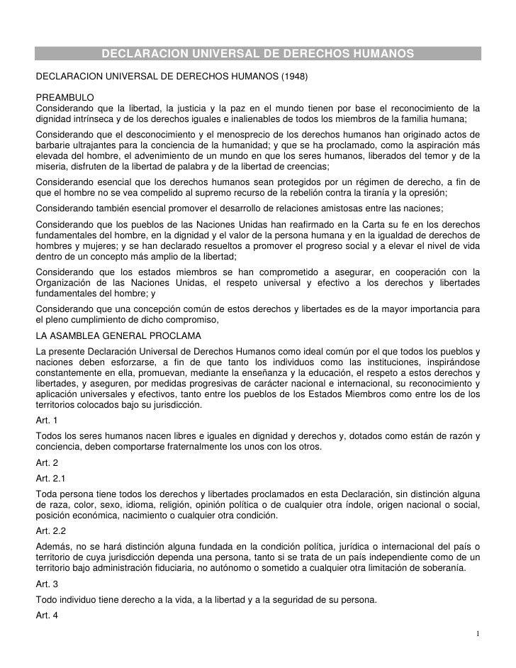DECLARACION UNIVERSAL DE DERECHOS HUMANOS DECLARACION UNIVERSAL DE DERECHOS HUMANOS (1948)  PREAMBULO Considerando que la ...