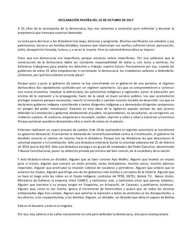 DECLARACIÓN PACEÑA DEL 10 DE OCTUBRE DE 2017 A 35 años de la reconquista de la democracia, hoy nos volvemos a encontrar pa...