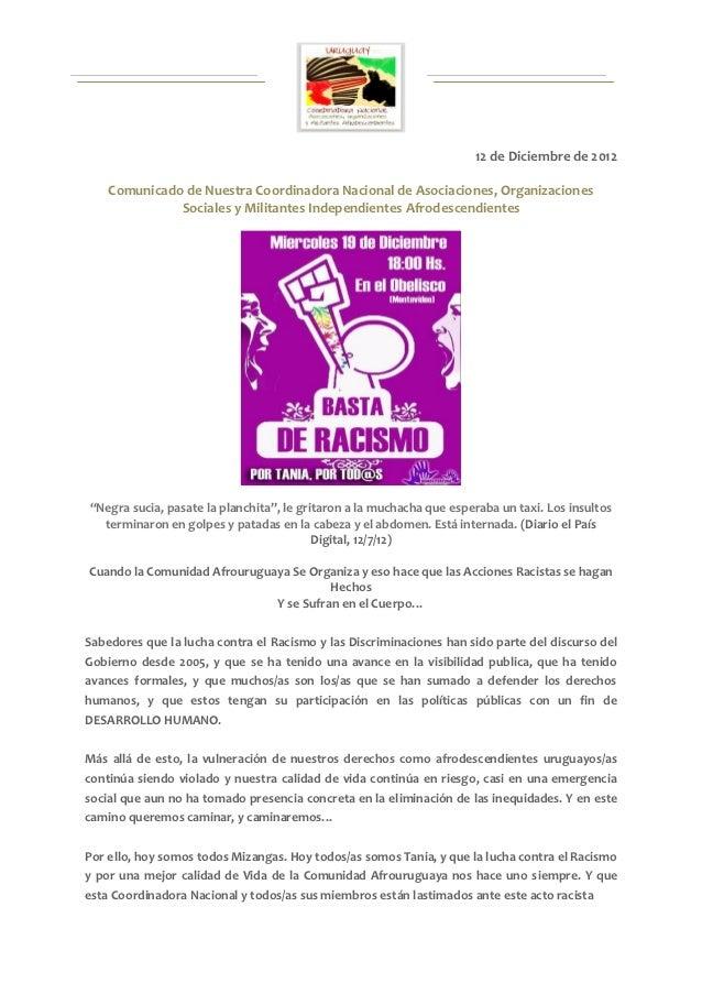 12 de Diciembre de 2012    Comunicado de Nuestra Coordinadora Nacional de Asociaciones, Organizaciones              Social...
