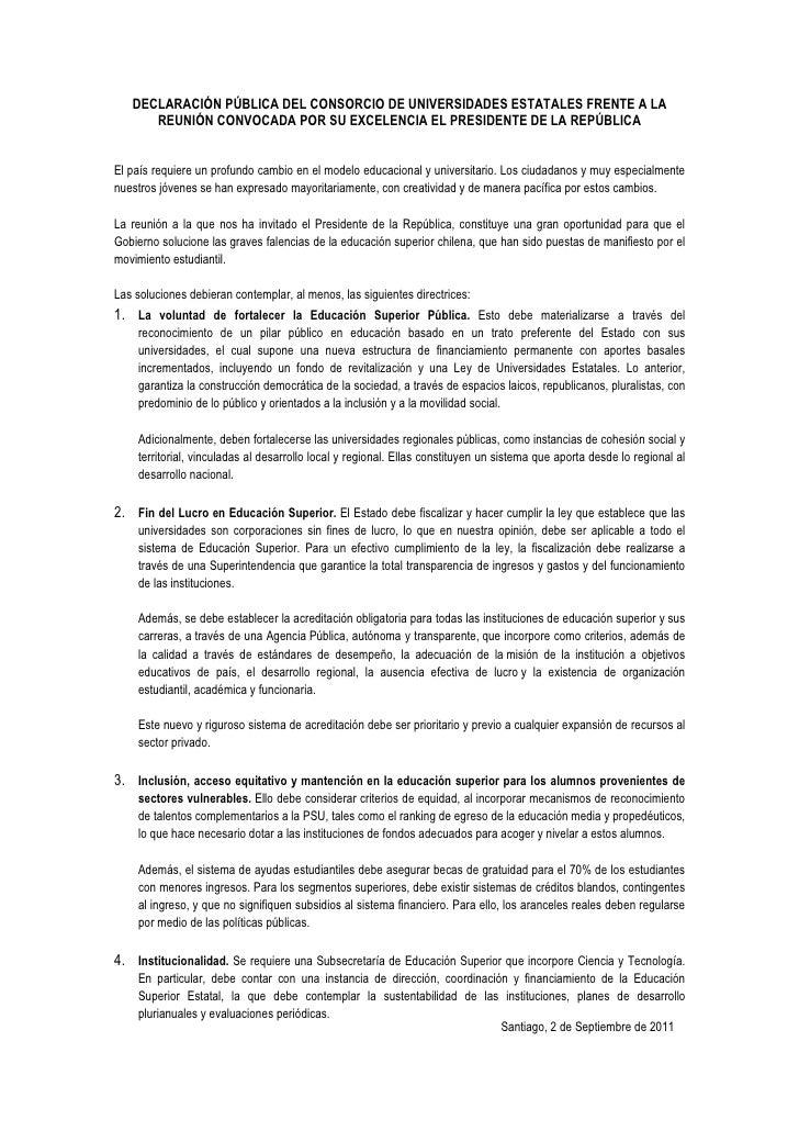 DECLARACIÓN PÚBLICA DEL CONSORCIO DE UNIVERSIDADES ESTATALES FRENTE A LA      REUNIÓN CONVOCADA POR SU EXCELENCIA EL PRESI...