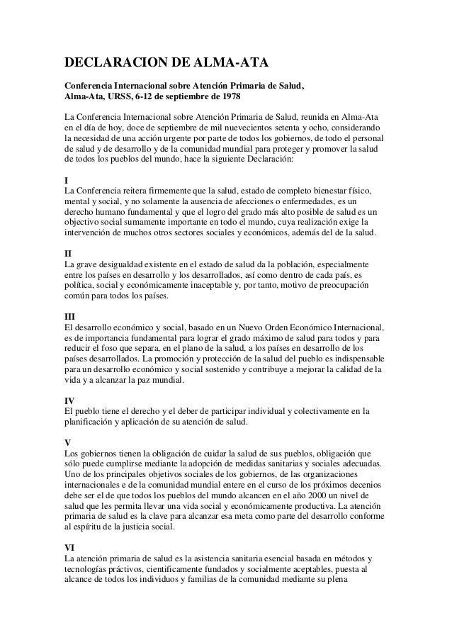 DECLARACION DE ALMA-ATA Conferencia Internacional sobre Atención Primaria de Salud, Alma-Ata, URSS, 6-12 de septiembre de ...