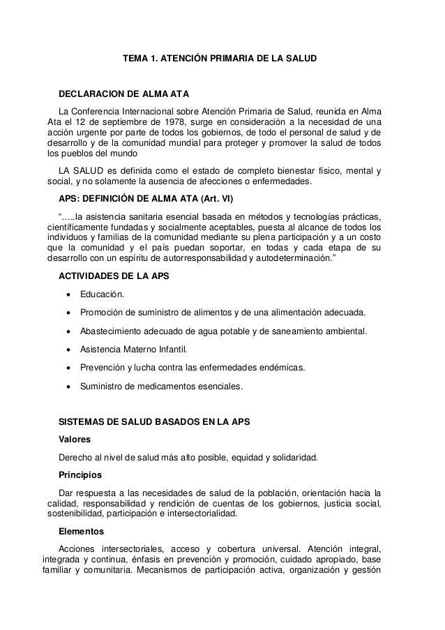TEMA 1. ATENCIÓN PRIMARIA DE LA SALUDDECLARACION DE ALMA ATALa Conferencia Internacional sobre Atención Primaria de Salud,...