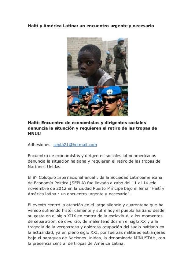 Haití y América Latina: un encuentro urgente y necesarioHaití: Encuentro de economistas y dirigentes socialesdenuncia la s...