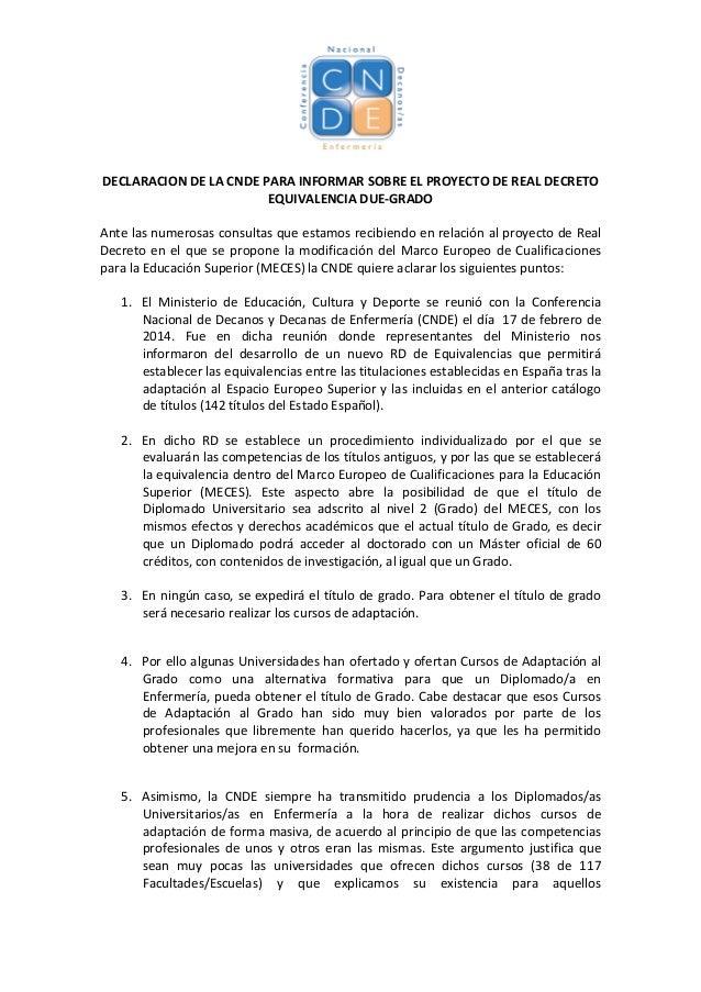 DECLARACION  DE  LA  CNDE  PARA  INFORMAR  SOBRE  EL  PROYECTO  DE  REAL  DECRETO   ...