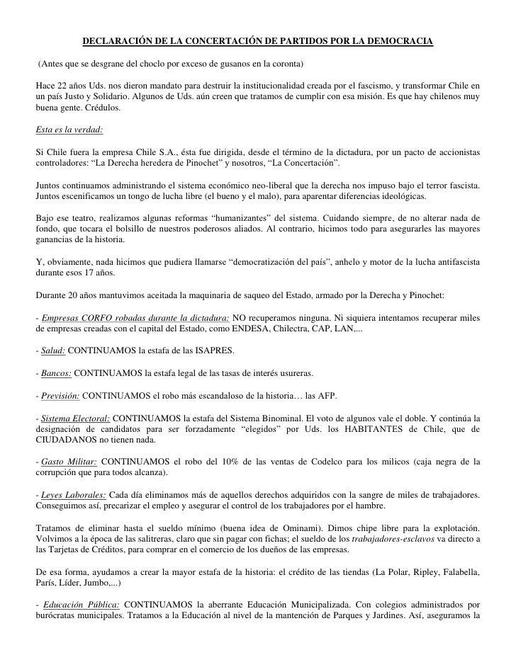 DECLARACIÓN DE LA CONCERTACIÓN DE PARTIDOS POR LA DEMOCRACIA(Antes que se desgrane del choclo por exceso de gusanos en la ...