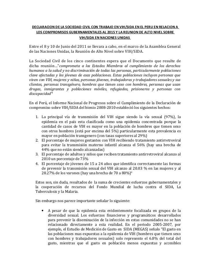 Declaracion de la sociedad civil con trabajo en vih