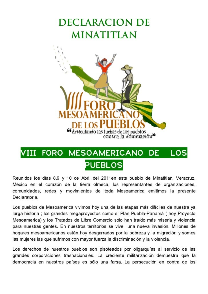 DECLARACION DE                       MINATITLAN       VIII FORO MESOAMERICANO DE                    ...