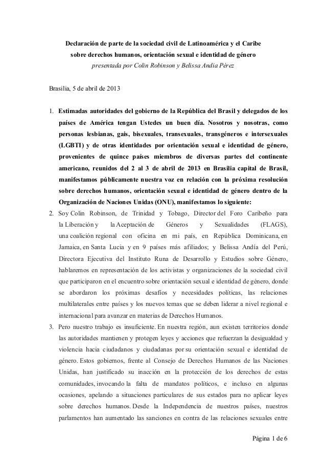 Página 1 de 6Declaración de parte de la sociedad civil de Latinoamérica y el Caribesobre derechos humanos, orientación sex...