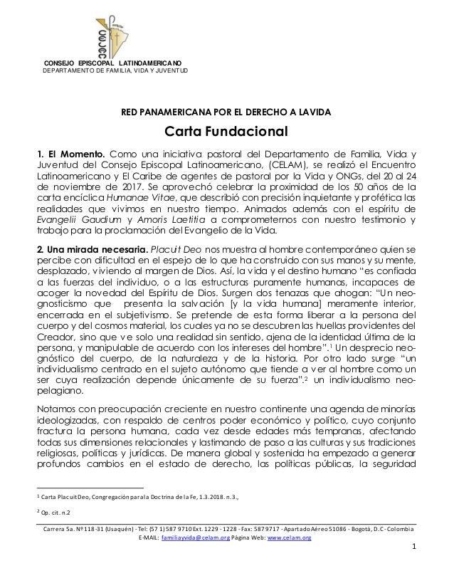 CONSEJO EPISCOPAL LATINOAMERICANO DEPARTAMENTO DE FAMILIA, VIDA Y JUVENTUD Carrera 5a. Nº 118-31 (Usaquén) - Tel: (57 1) 5...