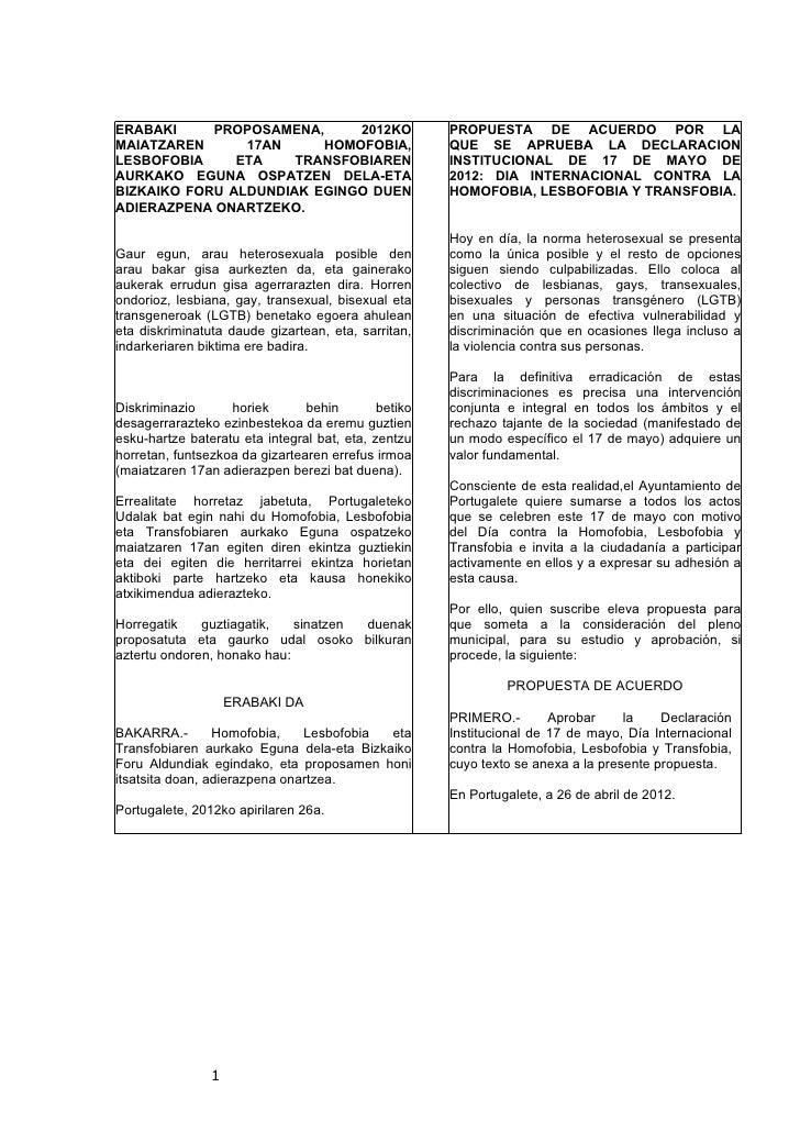 ERABAKI     PROPOSAMENA,     2012KO                   PROPUESTA DE ACUERDO POR LAMAIATZAREN      17AN     HOMOFOBIA,      ...