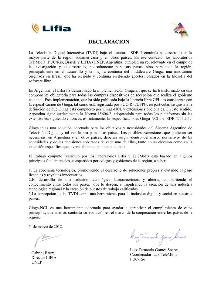 Declaracion marzo 2012 LIFIA y TELEMÍDIA