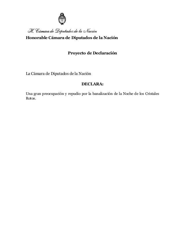Honorable Cámara de Diputados de la Nación Proyecto de Declaración La Cámara de Diputados de la Nación DECLARA: Una gran p...